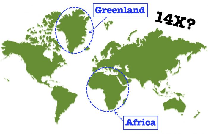 Map - Greenland and Africa